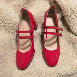 Red Patent Leather Mary Jane Pumps